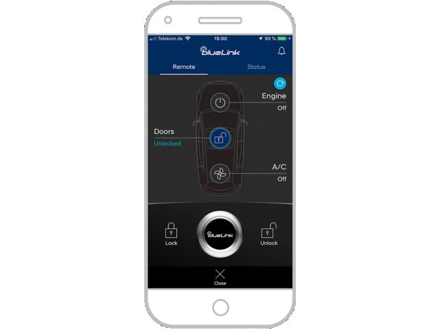 New Hyundai Santa Fe Auto Windlin Screenshot Bluelink Erinnerung auf Smartphon