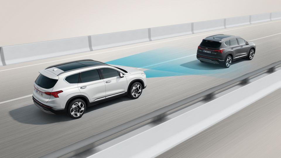 New Hyundai Santa Fe Auto Windlin Sicherheistsystem Grafik Autobahn