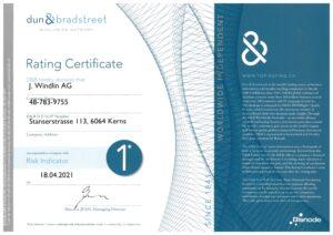 Bisnode Rating Certificate 2021 für J. Windlin AG